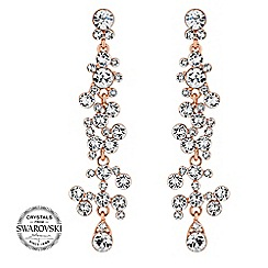 Jon Richard - Rose gold crystal cluster drop earrings MADE WITH SWAROVSKI CRYSTALS