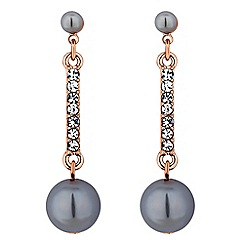Jon Richard - Grey pearl drop earrings