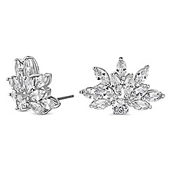 Jon Richard - Silver cubic zirconia leaf earrings
