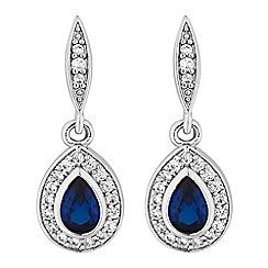Jon Richard - Blue cubic zirconia peardrop earrings