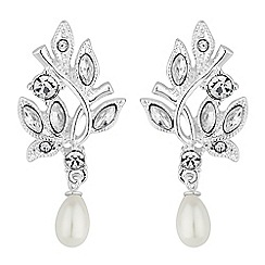 Alan Hannah Devoted - Designer leaf and pearl droplet earrings