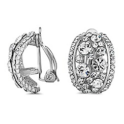 Jon Richard - Silver crystal half hoop clip on earrings