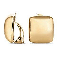 Jon Richard - Gold square clip on earrings