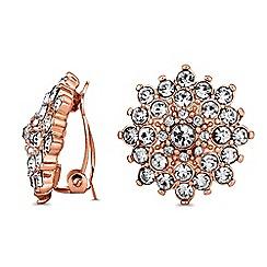 Jon Richard - Rose gold crystal flower clip on earrings