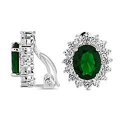 Jon Richard - Green cubic zirconia surround clip on earrings