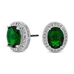 Jon Richard - Green cubic zirconia oval earrings