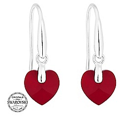 Jon Richard - Red heart drop earrings MADE WITH SWAROVSKI CRYSTALS