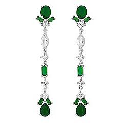 Jon Richard - Green cubic zirconia delicate drop earrings