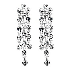 Jon Richard - Silver crystal multi droplet earrings