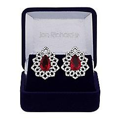 Jon Richard - Red cubic zirconia ornate stud earrings