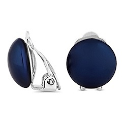 Jon Richard - Navy pearl button clip on earrings