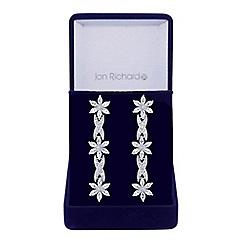 Jon Richard - Silver cubic zirconia flower and leaf earrings