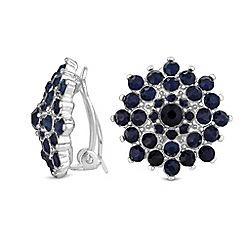 Jon Richard - Navy crystal cluster clip on earrings
