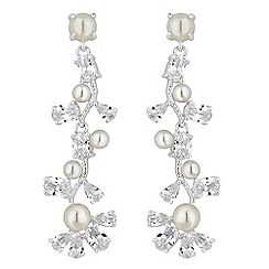 Alan Hannah Devoted - Vine pearl cubic zirconia drop earrings