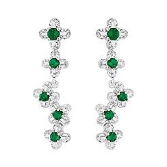 Jon Richard - Cubic zirconia floral drop earrings