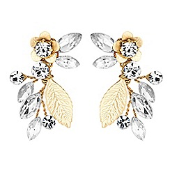 Alan Hannah Devoted - Gold blossom crystal freshwater pearl drop earrings