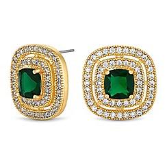 Jon Richard - Cubic zirconia square halo earrings