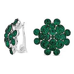 Jon Richard - Green crystal cluster clip on earrings