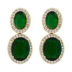 Jon Richard - Cubic zirconia halo drop earrings