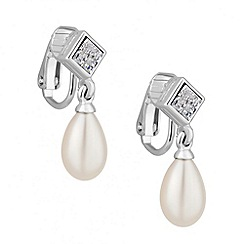 Jon Richard - Crystal and pearl drop clip on earring