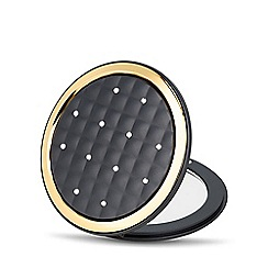 Jon Richard - Black quilted round compact mirror MADE WITH SWAROVSKI CRYSTALS