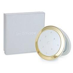 Jon Richard - Cream round crystal compact mirror