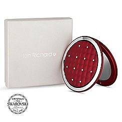 Jon Richard - Red quilted compact mirror MADE WITH SWAROVSKI CRYSTALS