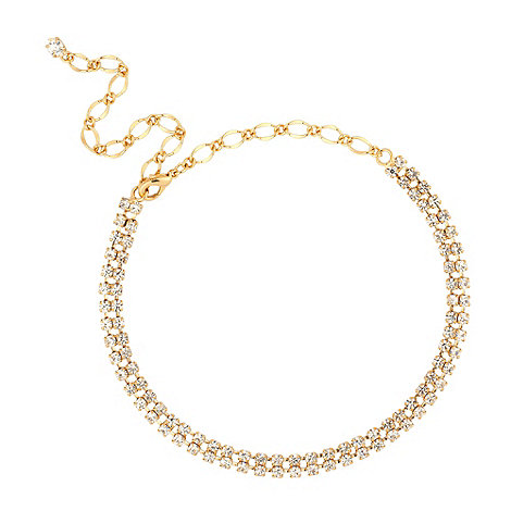 Jon Richard - Gold diamante crystal double row choker necklace