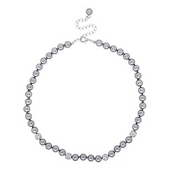 Jon Richard - Grey pearl and pave crystal ball necklace
