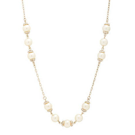 Jon Richard - Cream pearl and crystal cap gold necklace