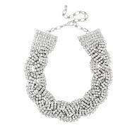 Online exclusive statement diamante crystal plait necklace