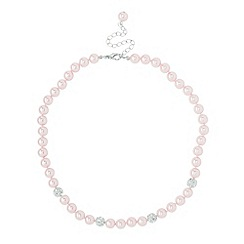 Jon Richard - Pave crystal ball and pink pearl necklace