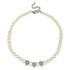 Jon Richard - Graduated pave crystal disc and cream pearl necklace