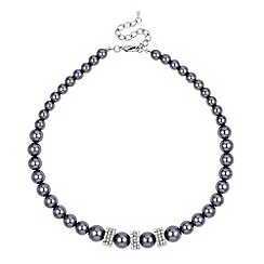 Jon Richard - Graduated pave crystal disc and grey pearl necklace