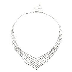 Jon Richard - Diamante crystal multi row v shaped necklace
