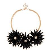 Online exclusive triple black flower bead necklace
