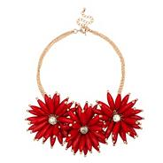 Online exclusive triple red flower bead necklace