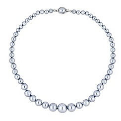 Jon Richard - Graduating grey pearl oval clasp necklace