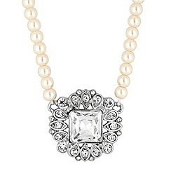 Jon Richard - Square crystal surround pearl chain necklace