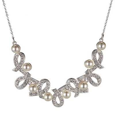 Alan Hannah Devoted Designer crystal and pearl love knot necklace - . -