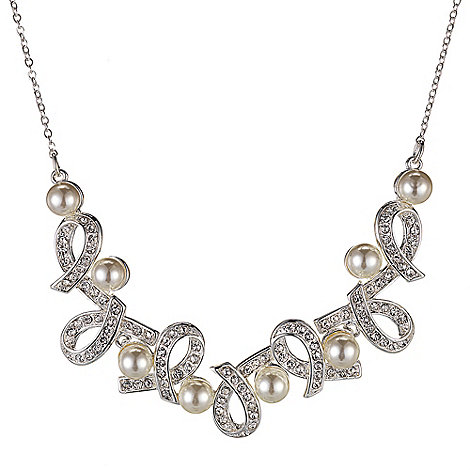 Alan Hannah Devoted - Designer crystal and pearl love knot necklace