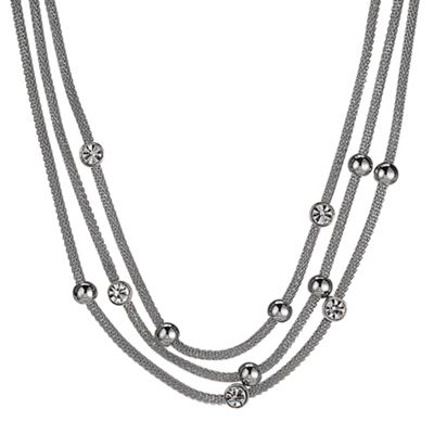 Crystal And Silver Triple Mesh Chain Necklace