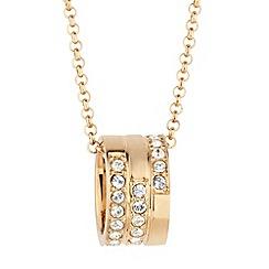 Jon Richard - Crystal gold barrel pendant necklace made with SWAROVSKI ELEMENTS