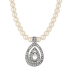 Jon Richard - Crystal teardrop and pearl chain necklace