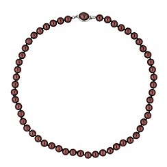 Jon Richard - Chocolate pearl oval clasp necklace