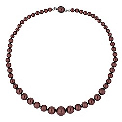 Jon Richard - Graduated chocolate pearl oval clasp necklace