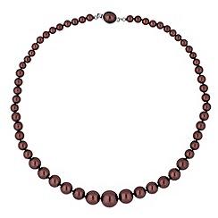 Jon Richard - Graduated chocolate pearl oval clasp necklace