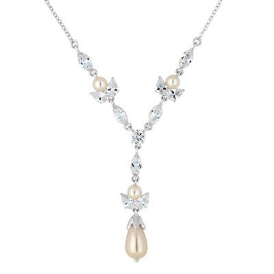Alan Hannah Devoted Designer cubic zirconia and pearl Y drop necklace - . -