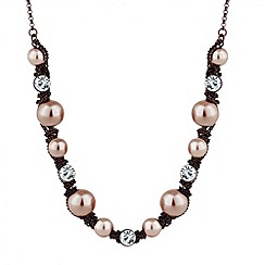 Jon Richard - Pearl and crystal chocolate chain wrap necklace