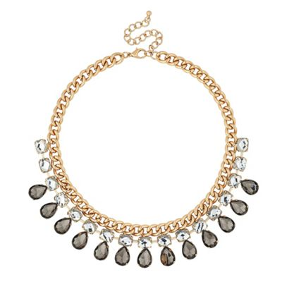 Grey Peardrop And Crystal Chain Necklace